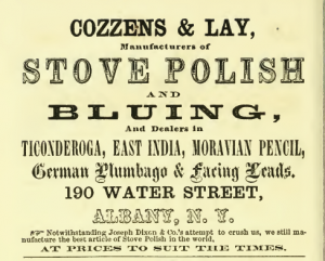 1862 Schenectady Directory Cozzens & Lay stove polish