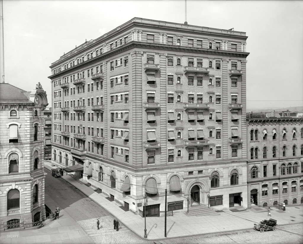 """Albany, New York, circa 1908. """"The Ten Eyck."""" At two fifty-seven. 8x10 inch dry plate glass negative, Detroit Publishing Company. From Shorpy.com"""