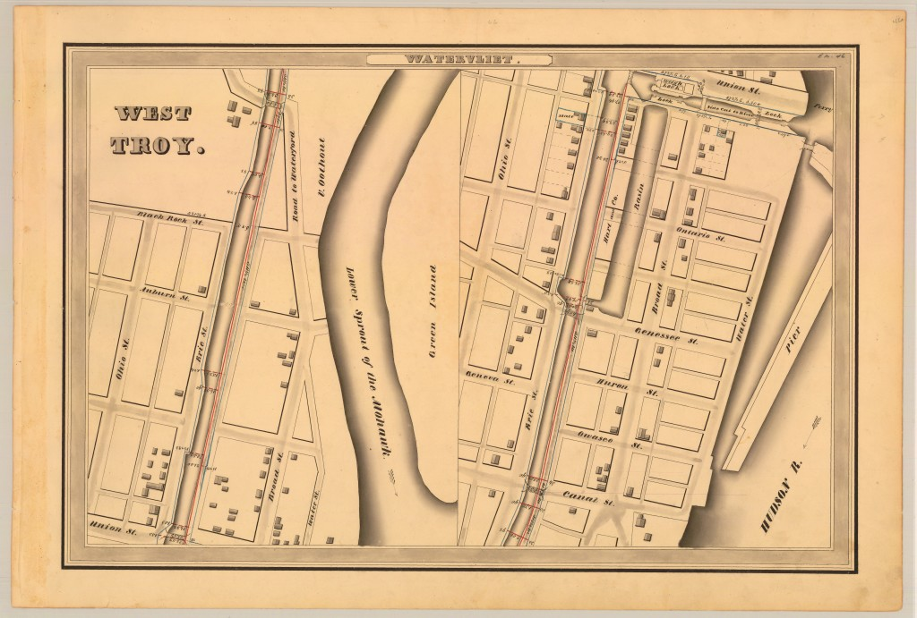 1834 Erie Canal West Troy Green Island