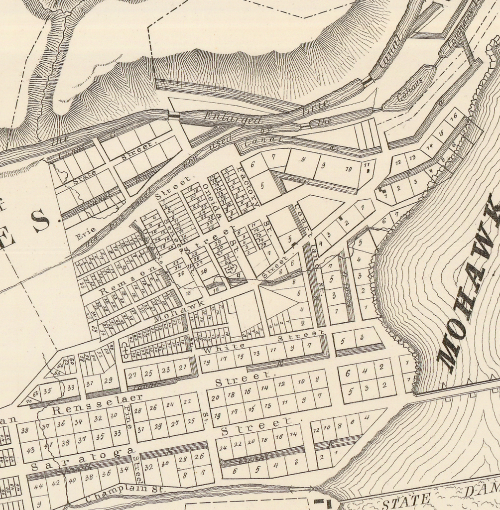 Cohoes canals in city overview