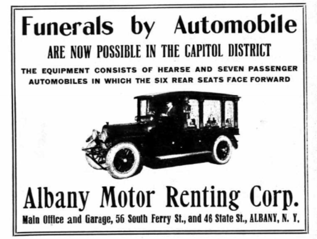 1920 Albany Directory Funerals by Automobile