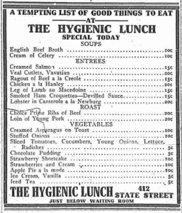 Hygienic Lunch menu
