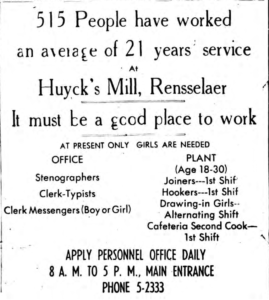 Huyck's Mills help wanted ad