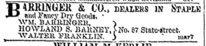 Barringer small ad 11-13-1855