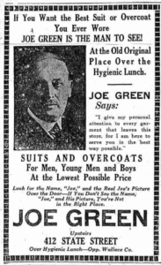 Joe Green's Ad 1922
