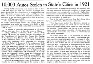 10,000 Autos Stolen in 1921