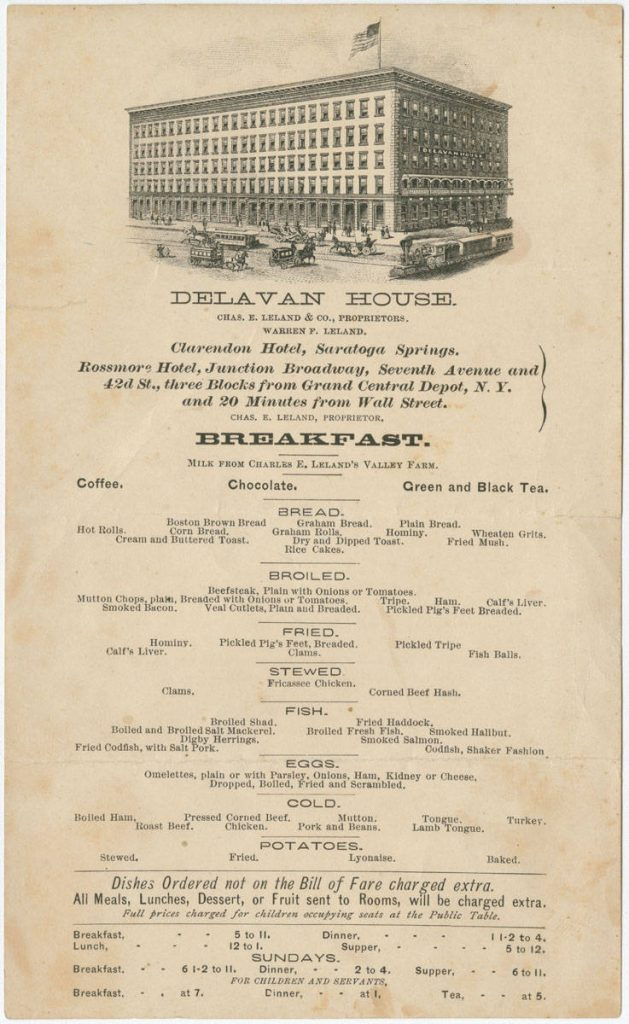 Delavan House Menu ca 1875
