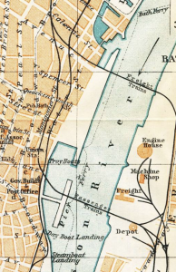 1909 Baedeker map showing the filled northern section of the Albany Basin
