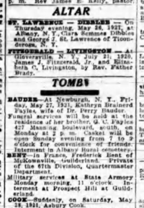 Times Union Altar Tomb 1921