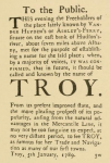 Changing the name to Troy, 1789