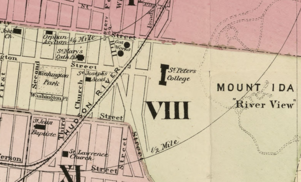 St. Peter's College Troy from Sampson map 1877