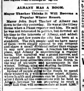 Albany as winter resort NY Press 1888