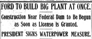 Ford to Build Big Plant at Once 6-19-1920