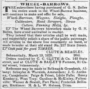 Clute & Reagles Wheelbarrows 1839