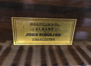 Meacham Piano label for John Siegling, Charleston