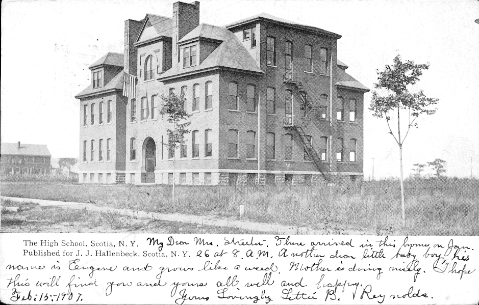 Postcard of the Scotia High School, not even two years old when this postcard was sent in 1907.