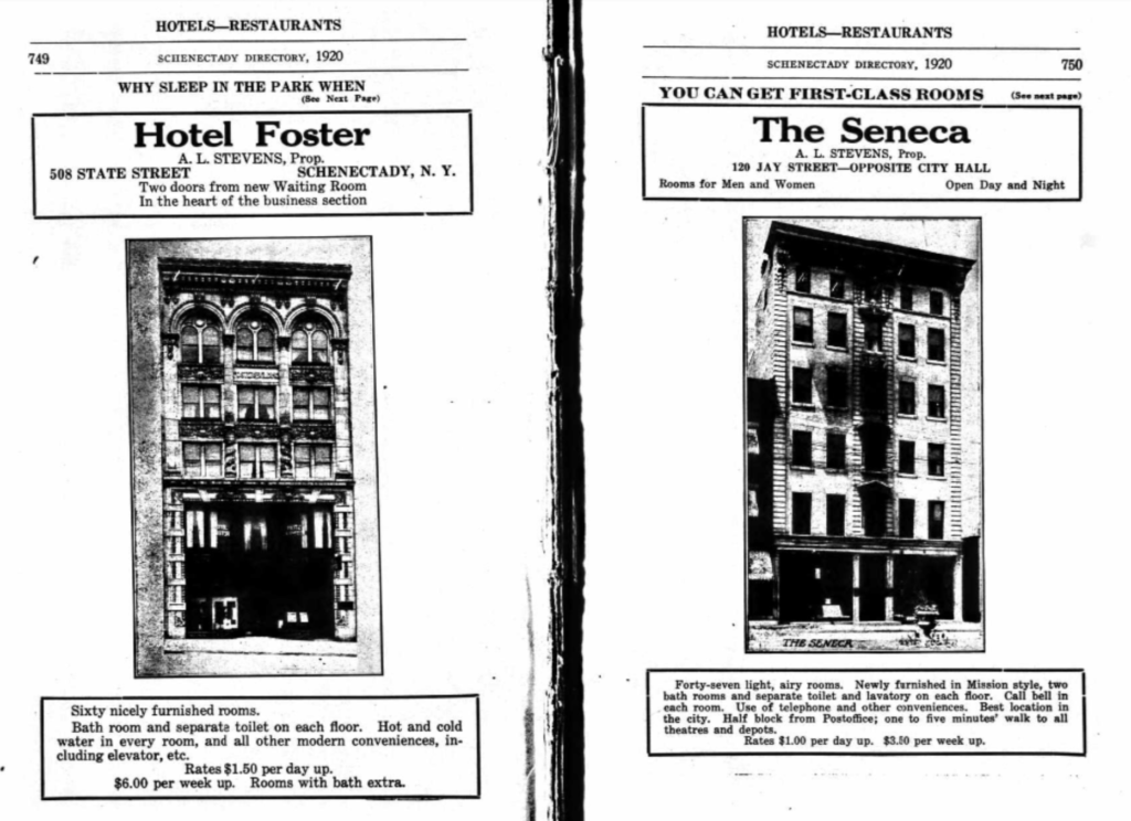 Why sleep in the park 1920 Schenectady Directory