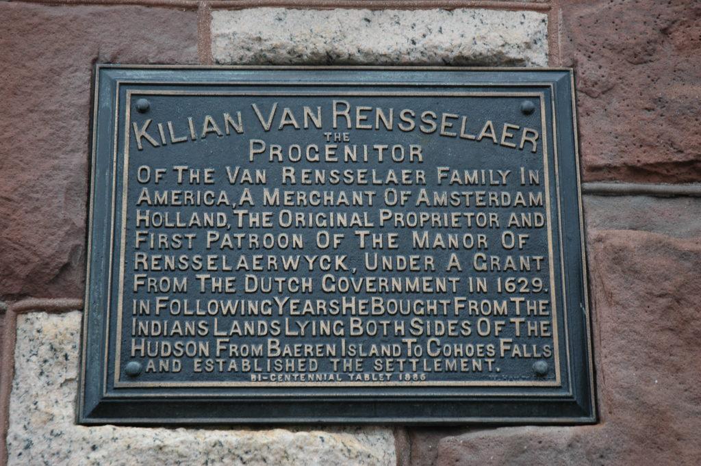 Kiliaen Van Rensselaer marker on Albany's City Hall