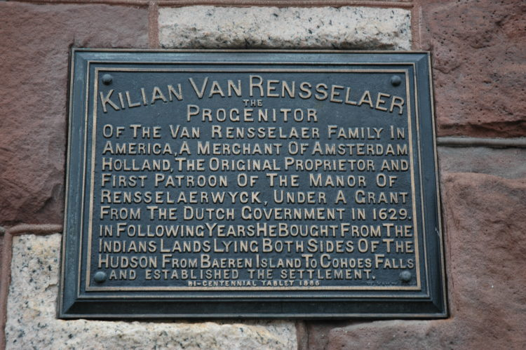Kiliaen Van Rensselaer marker on Albany's City Hall