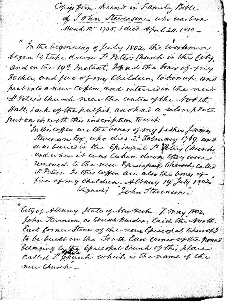 Copies from Record in Family Bible of John Stevenson