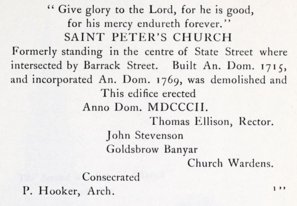 The copy for the marble slab to be placed in the 1803 St. Peter's Church