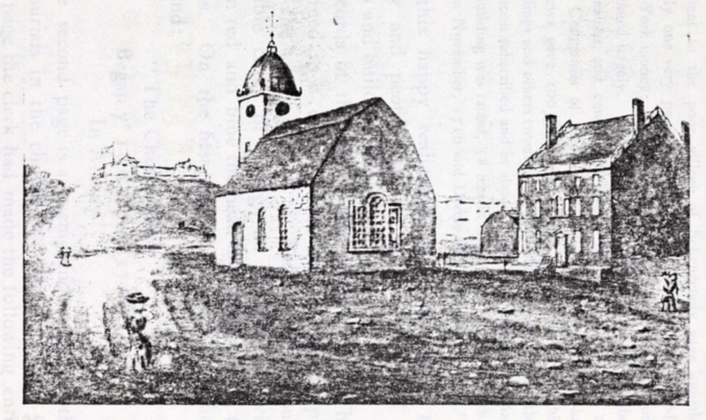 A very roughly reproduced photograph of a watercolor meant to represent the first English church