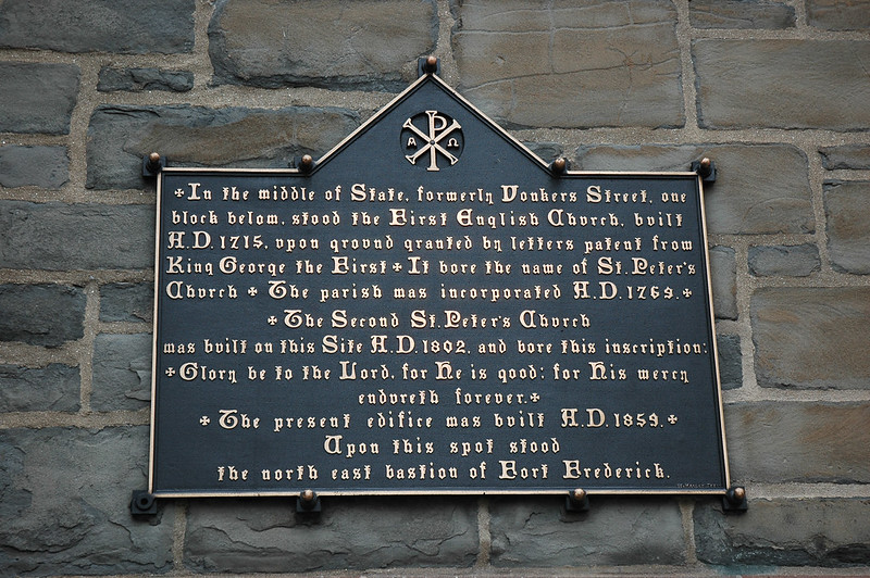 The tablet that actually appears on St. Peter's Church