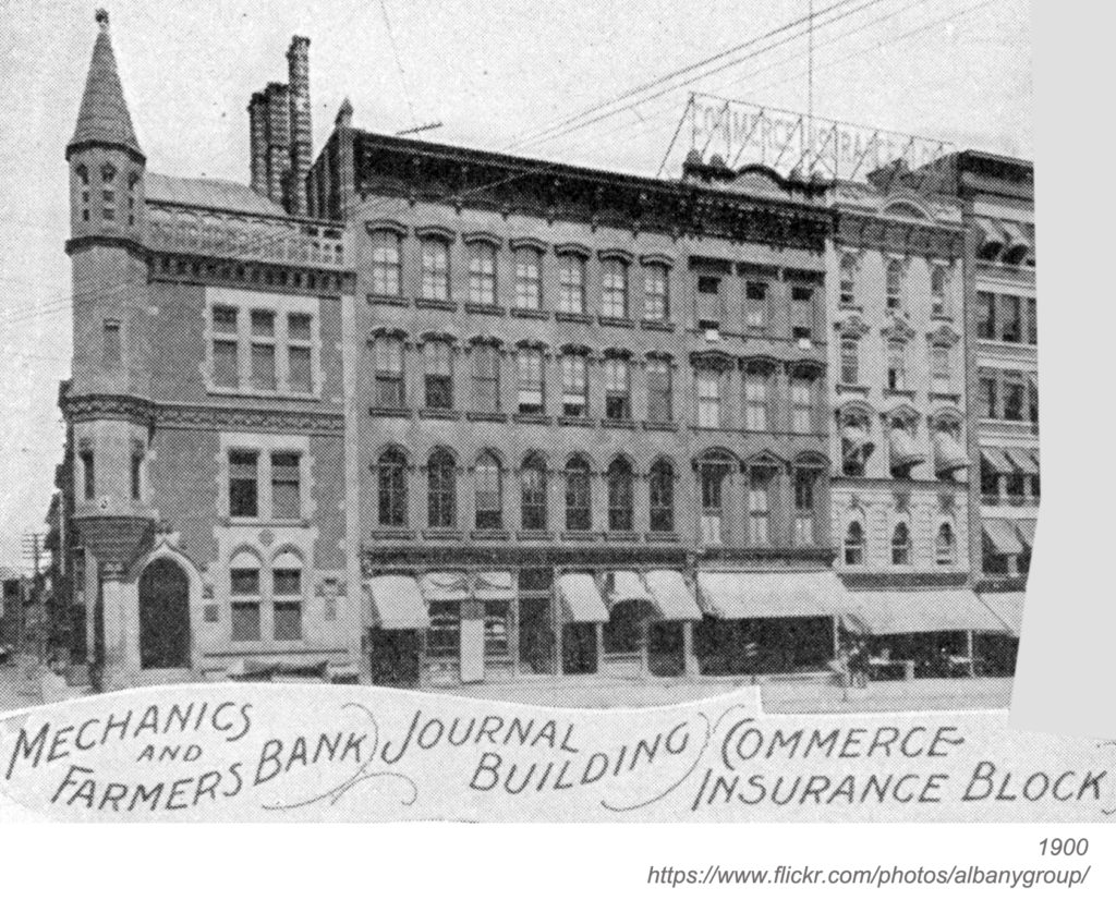 Photograph of row of buildings on State street at James street in Albany, New York