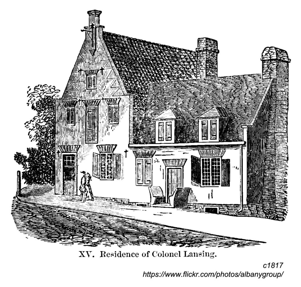 """Ink drawing of the Lansing House in Albany, titled """"Residence of Colonel Lansing."""""""