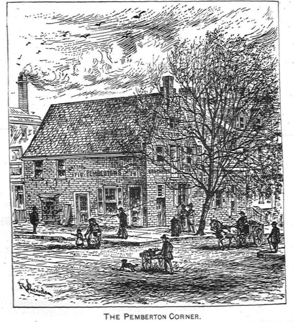 Ink drawing of The Pemberton Corner
